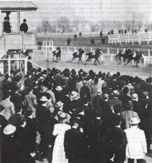 Effendi rushes past the grandstand on his way to victory in the 1909 Preakness, which marked its return to Pimlico. (Baltimore Sun file photo)