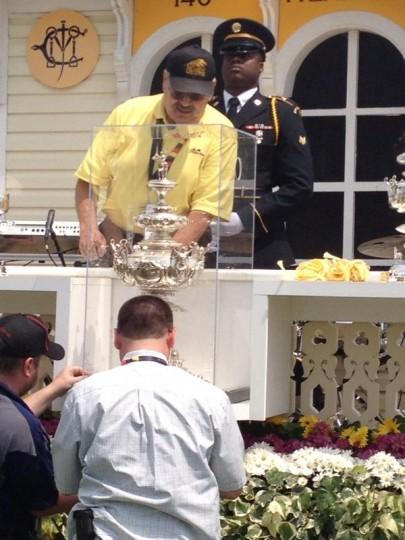 Setting up the extremely shiny Woodlawn Vase. (Jeff Barker/Baltimore Sun)