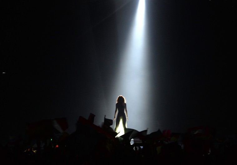 Edurne representing Spain performs the song 'Amanecer' during the final of the Eurovision Song Contest in Austria's capital Vienna. (Kerstin Joensson/Associated Press)