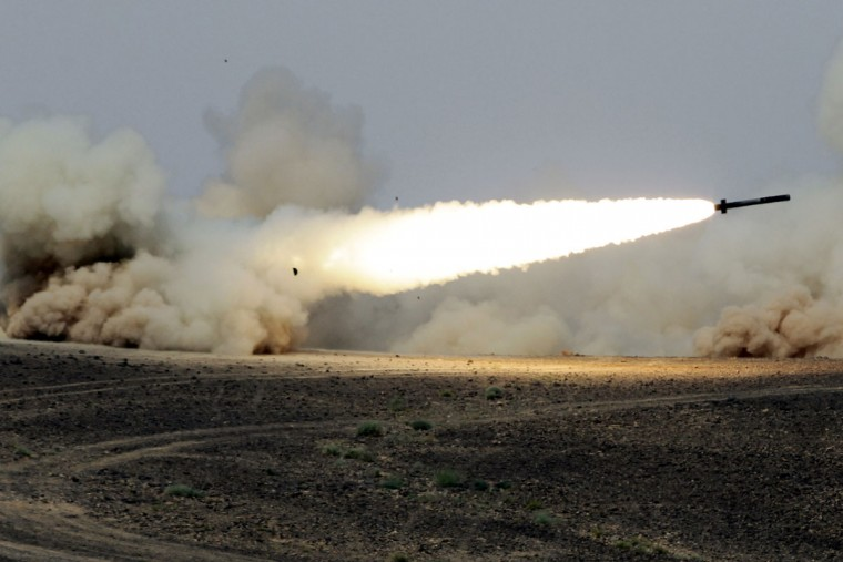 "A rocket is fired during joint Jordan-US maneuvers as they take part in the ""Eager Lion"" military exercises in Mudawwara, near the border with Saudi Arabia, on May 18, 2015. The annual ""Eager Lion"" exercises includes the participation of 10,000 troops from at least 18 countries, and incorporates scenarios including disaster relief and air defense. (KHALIL MAZRAAWI/AFP/Getty Images)"