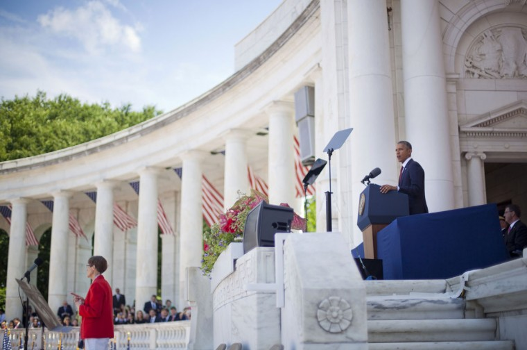 President Barack Obama speaks in the Memorial Amphitheater at Arlington National Cemetery in Arlington, Va., Monday, May 25, 2015, during a Memorial Day ceremony. (AP Photo/Pablo Martinez Monsivais)