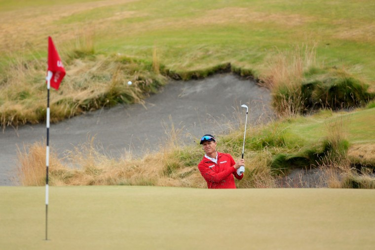John Senden of Australia plays a bunker shot on the 13th hole during the first round of the 115th U.S. Open Championship at Chambers Bay on June 18, 2015 in University Place, Washington. (Photo by David Cannon/Getty Images)