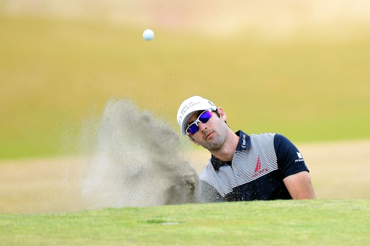 Cameron Tringale hits a shot from a greenside bunker on the fifth hole during the first round of the 115th U.S. Open Championship at Chambers Bay on June 18, 2015 in University Place, Washington. (Photo by Harry How/Getty Images)
