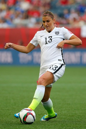 Alex Morgan #13 of United States with the ball against Australia in the second half during the FIFA Women's World Cup 2015 Group D match at Winnipeg Stadium on June 8, 2015 in Winnipeg, Canada. (Kevin C. Cox/Getty Images)