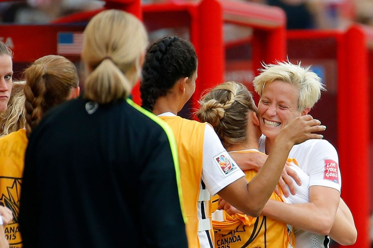 Megan Rapinoe #15 of United States celebrates with teammates after she is a late substitute after scoring two goals against Australia during the FIFA Women's World Cup 2015 Group D match at Winnipeg Stadium on June 8, 2015 in Winnipeg, Canada. (Kevin C. Cox/Getty Images)