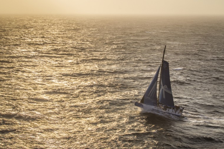 In this handout image provided by the Volvo Ocean Race, Team Vestas Wind passing by Costa da Morte - Coast of Death - in Spanish waters during sunrise sailing on Leg 8 on Monday between Lisbon, Portugal and L'Orient, France. The Volvo Ocean Race 2014-15 is the 12th running of this ocean marathon. Starting from Alicante in Spain on Oct. 4, the route, spanning some 39,379 nautical miles, visits 11 ports in 11 countries (Spain, South Africa, United Arab Emirates, China, New Zealand, Brazil, United States, Portugal, France, The Netherlands and Sweden) over nine months. The Volvo Ocean Race is the world's premier ocean yacht race for professional racing crews. (Ainhoa Sanchez/Volvo Ocean Race via Getty Images)