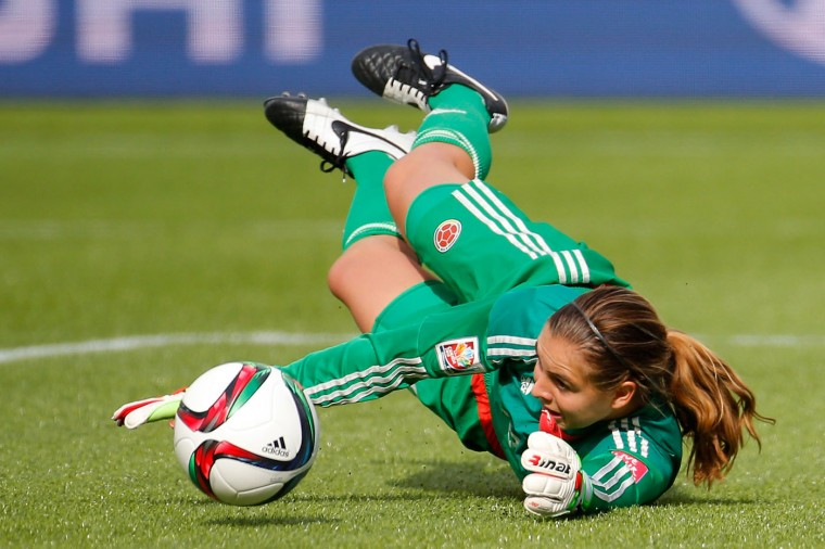 Goalkeeper Catalina Perez #22 of Colombia makes a save in the first half against the United States in the FIFA Women's World Cup 2015 Round of 16 match at Commonwealth Stadium on June 22, 2015 in Edmonton, Canada. (Kevin C. Cox/Getty Images)
