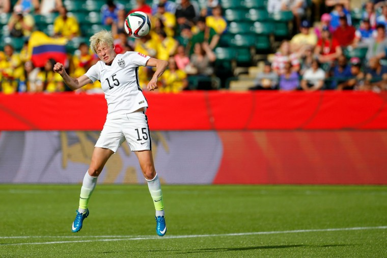 Megan Rapinoe #15 of the United States heads the ball in the first half while taking on Colombia in the FIFA Women's World Cup 2015 Round of 16 match at Commonwealth Stadium on June 22, 2015 in Edmonton, Canada. (Kevin C. Cox/Getty Images)