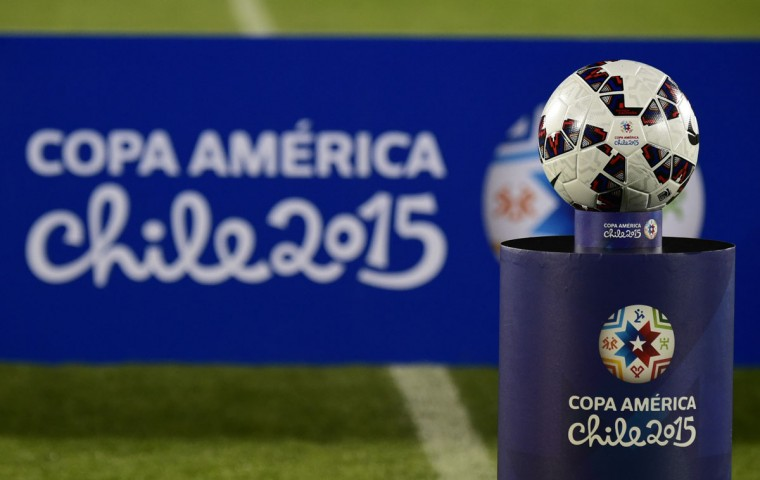 The official ball is seen before the start of the Copa America inauguration football match between Chile and Ecuador at the Nacional stadium in Santiago, on June 11, 2015. (AFP Photo/Luis Acosta)