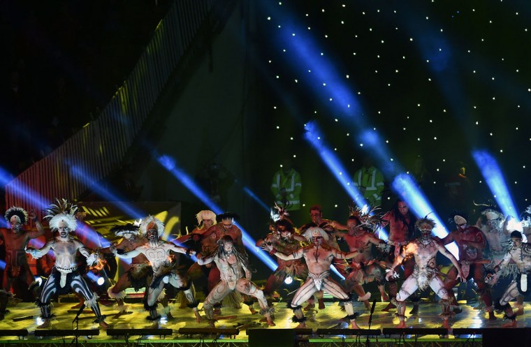 Dancers perform during the Copa America inauguration ceremony at the Nacional stadium in Santiago, on June 11, 2015. Chile will face Ecuador in the inauguration match. (AFP Photo/Rodrigo Arangua)