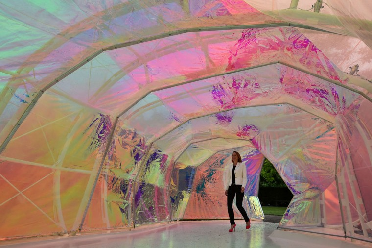 A visitor walks through the Serpentine pavilion structure designed by Spanish architects Lucia Cano and Jose Selgas at the Serpentine Gallery in London on June 22, 2015. (BEN STANSALL/AFP/Getty Images)