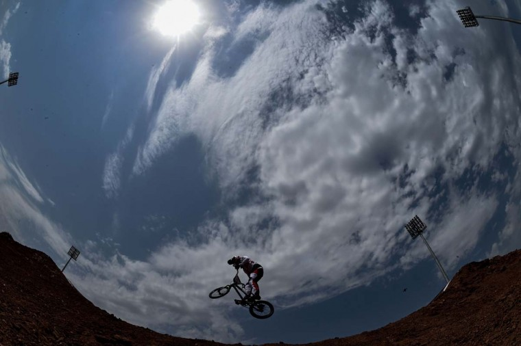 Switzerland's David Graf competes in the men's cycling BMX qualifying time trial race at the 2015 European Games in Baku on June 26, 2015.  || CREDIT: KIRILL KUDRYAVTSEV - AFP/GETTY IMAGES