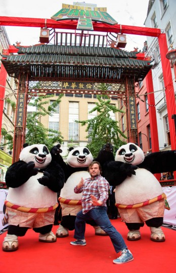 U.S actor Jack Black poses for photographers at a photocall for Kung Fu Panda 3 at a central London location, Thursday, June 25, 2015. (Jonathan Short/Invision/AP)