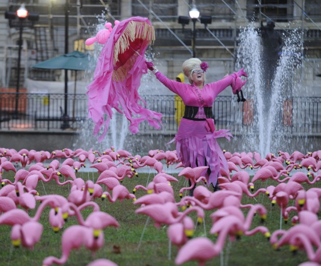 "Charlene Osborne, ""Bawlmer""'s Best Hon of 2009 celebrates with a flock of plastic flamingoes in War Memorial Plaza. (Jed Kirschbaum/Baltimore Sun)"