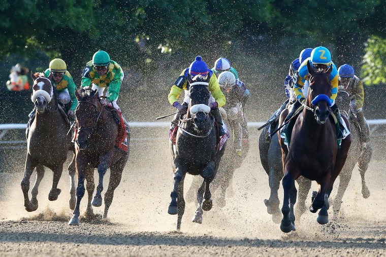 American Pharoah #5, ridden by Victor Espinoza, leads the field out of the fourth turn during the 147th running of the Belmont Stakes at Belmont Park on June 6, 2015 in Elmont, New York. (Elsa/Getty Images)