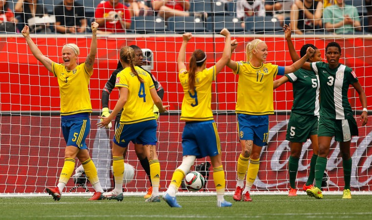 Nilla Fischer of Sweden reacts after scoring the second goal against goalkeeper Precious Dede of Nigeria during a FIFA Women's World Cup Canada 2015 Group D match at Winnipeg Stadium on June 8, 2015 in Winnipeg, Canada. (Photo by Kevin C. Cox/Getty Images)