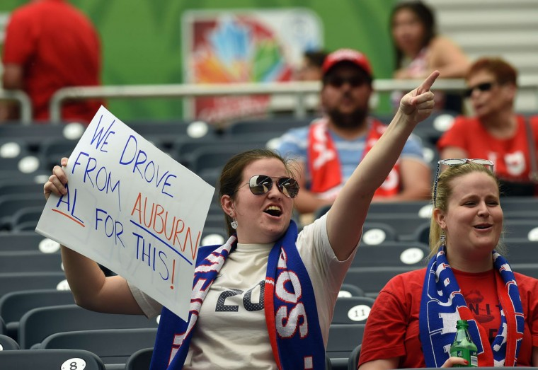 Fans wait to watch the Group D match of the 2015 FIFA Women's World Cup between the US and Australia at the Winnipeg Stadium on June 8, 2015, in Winnipeg, Manitoba. (JEWEL SAMAD/AFP/Getty Images)