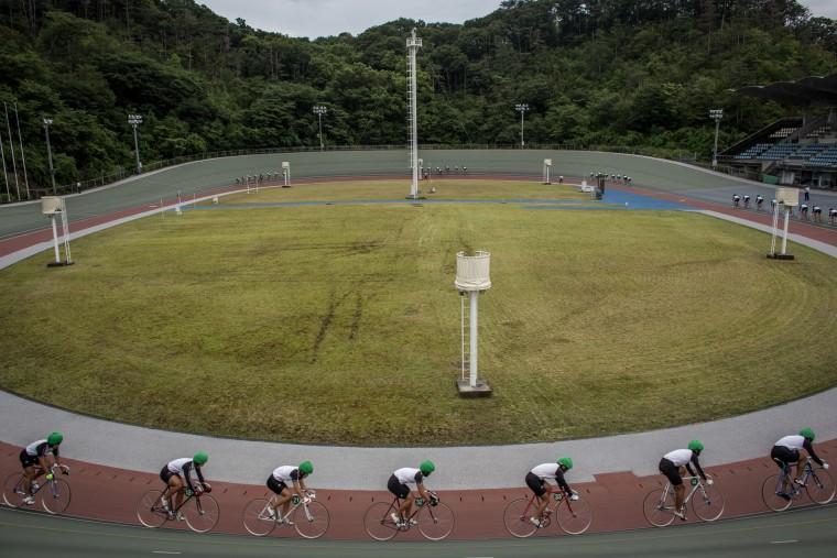 Keirin students train at the Nihon Keirin Gakkou (Japan Keirin School) on July 8, 2015 in Izu, Japan. (Photo by Chris McGrath/Getty Images)