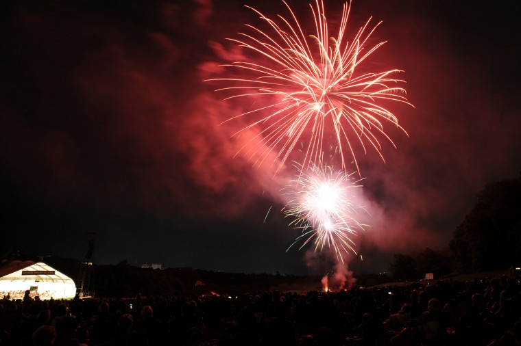 Fireworks explode over Oregon Ridge Park. Photo taken with Nikon D3 and 24-70 f/2.8 lens. The f-stop was set to 6.3, the ISO at 400 and the focal length at 24mm. The exposure was 2 seconds. (Jerry Jackson/Baltimore Sun)