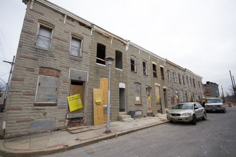 The 900 block of N. Port Street, prior to being deconstructed, the majority of it done by hand. (Kalani Gordon, Baltimore Sun)