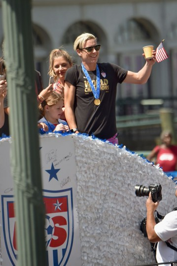 Soccer player Abby Wambach in the New York City Ticker Tape Parade for World Cup Champions U.S. Women's Soccer National Team on July 10, 2015 in New York City. (Photo by Michael Loccisano/Getty Images)