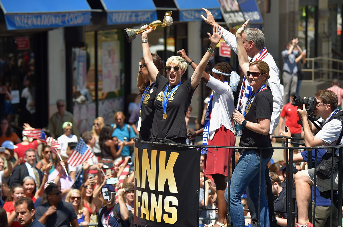 A ticker tape parade for the U.S. women's soccer team's World Cup victory