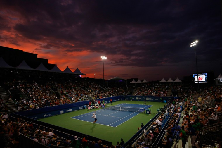 A general view of Stadium court prior to the exhibition match between Andy Roddick and Frances Tiafoe during the BB&T Atlanta Open at Atlantic Station on July 27, 2015 in Atlanta, Georgia. (Kevin C. Cox/Getty Images)