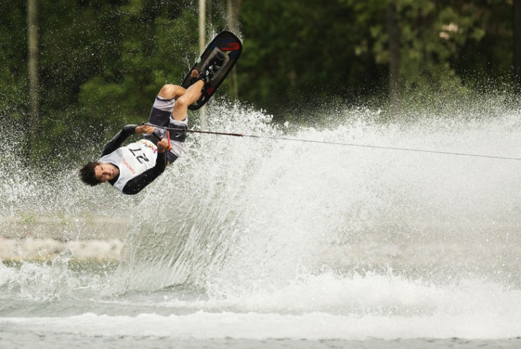 Alvaro Lamadrid of Mexico during the men's waterski tricks preliminary round at the Pan Am Games in Toronto on Monday. (MARK BLINCHMARK BLINCH/AFP/Getty Images)