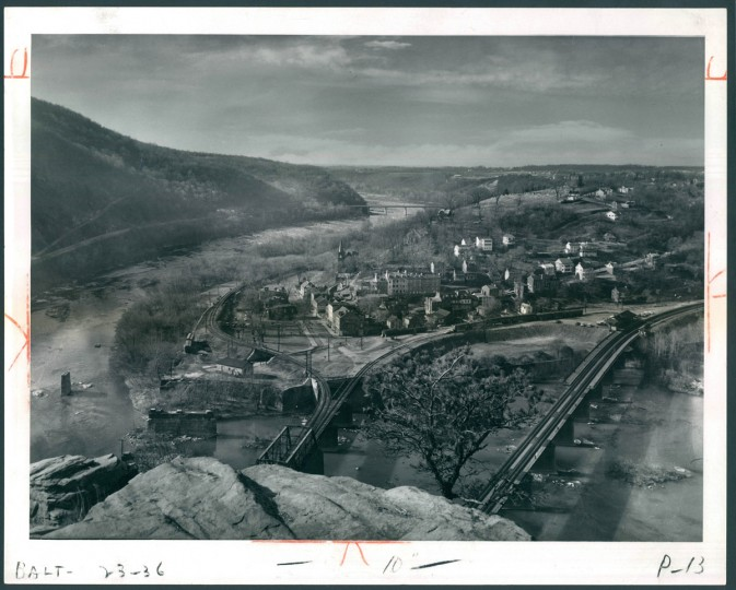 Harpers Ferry as seen from Maryland Heights across the Potomac. (A. Aubrey Bodine/Baltimore Sun, 1962)