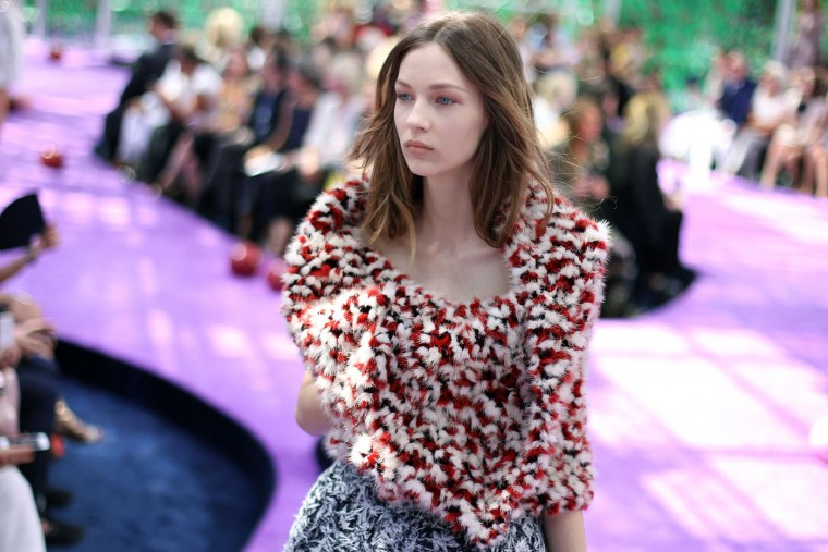 A model wears a creation for Christian Dior's fall-winter 2015/2016 Haute Couture fashion collection presented in Paris, France, Monday, July 6, 2015. (AP Photo/Thibault Camus)