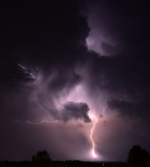 Lightning is seen from Vestavia Hills, Ala., a suburb of Birmingham, Wednesday, June 24, 2015. (Mark Almond/AL.com via AP)