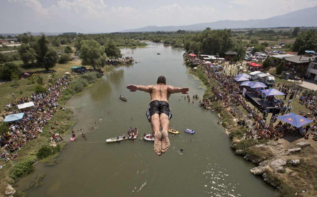 High-diving from a bridge near Kosovo