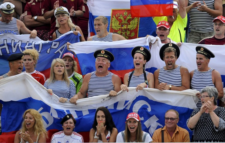 Russia's supporters react on the stands during their FIFA Beach Soccer World Cup semi-final match against Portugal in Espinho, Portugal, Saturday, July 18, 2015. Portugal won 4-2. (AP Photo/Paulo Duarte)
