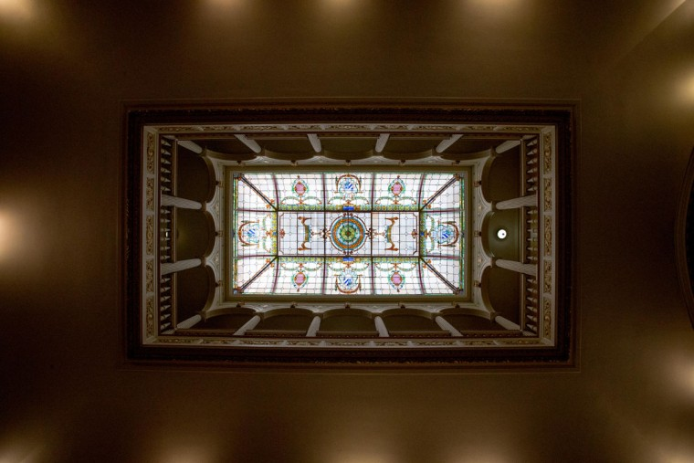 The skylight over the main room of the new Cuban embassy in Washington, Monday, July 20, 2015. The United States and Cuba restored full diplomatic relations Monday after more than five decades of frosty relations rooted in the Cold War. (AP Photo/Andrew Harnik, Pool)