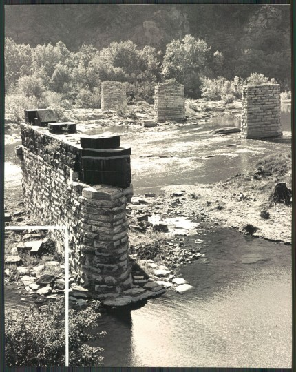 Stone support are all that remain of the covered bridge which led from Mayland Heights to Harpers Ferry at the start of the Civil War. (Clarence B. Garrett/Baltimore Sun, 1965)