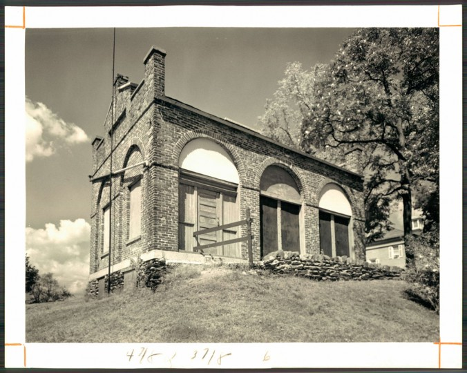 "The ""fort"" on the old Storer College grounds. Because a reversed photo was used as a guide, it was reerected with the door at the left instead of the right. (Baltimore Sun archives, 1966)"