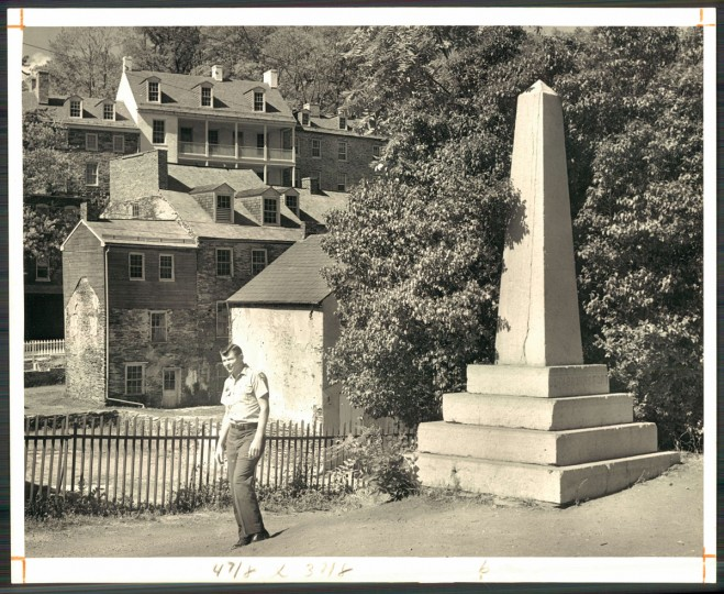 This obelisk now marks the spot where a historic building stood. (Baltimore Sun archives, 1966)