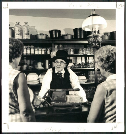 Jesse Eagle's black hat and best help recreate aura of past in the general store. (Paul Hutchins/Baltimore Sun, 1973)