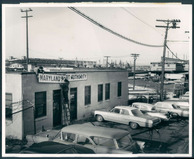 Cars parked at the Locust Point Marine Terminal on New Year's Day 1964. (Baltimore Sun photo)