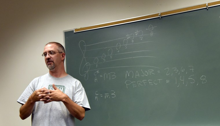 Brian Frazier, instrumental music director at Westminster High School, teaches music theory at the 30th annual summer music camp. (Barbara Haddock Taylor/Baltimore Sun)