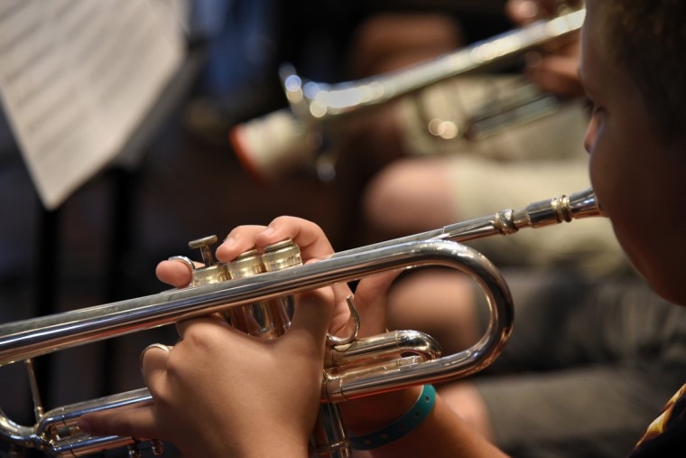 A student plays trumpet during rehearsal at the 30th annual summer music camp for middle and high school students on the campus of McDaniel College. (Barbara Haddock Taylor/Baltimore Sun)