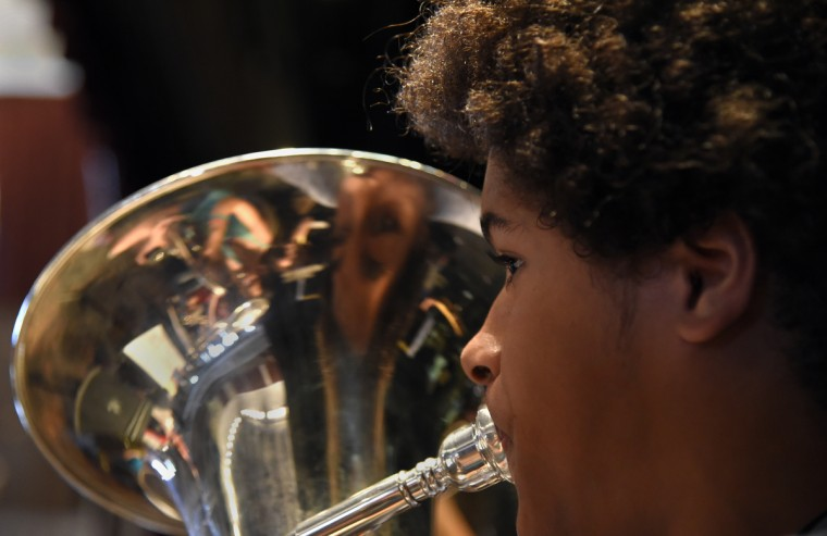 Jordan Moore, 18 of Baltimore, plays the euphonium during rehearsals at McDaniel College Summer Music Camp. (Barbara Haddock Taylor/Baltimore Sun)
