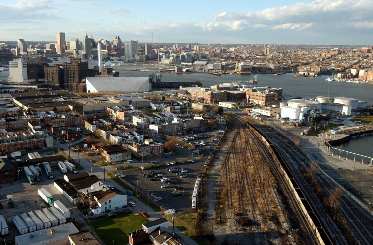 Dec. 1, 2003: View looking towards downtown from the 29 story grain elevator in Locust Point. (John Makely, Baltimore Sun)