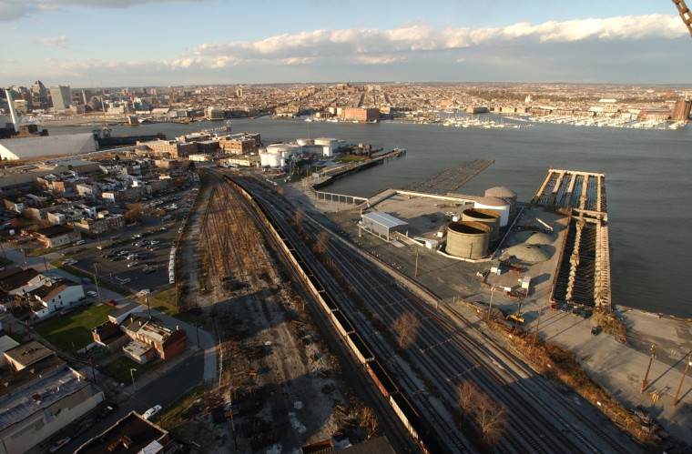 Dec. 2003: View looking north from the 29 story grain elevator in Locust Point. (John Makely, Baltimore Sun, June 2015)