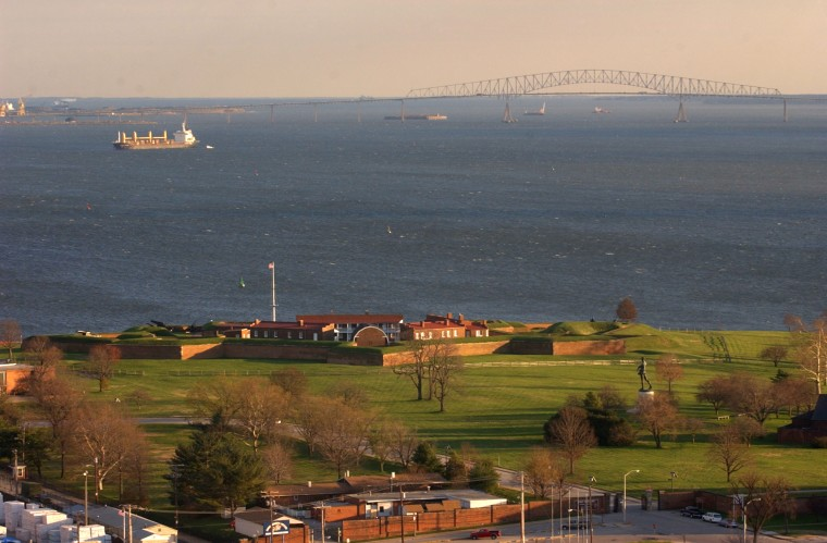 Dec. 1, 2003: View of Ft. McHenry and the Key Bridge from the top of the 29 story grain elevator in Locust Point. (John Makely, Baltimore Sun, June 2015)