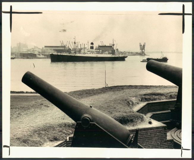 A ship passes by Fort McHenry on March 13, 1954. (Baltimore Sun photo by WM Klender)