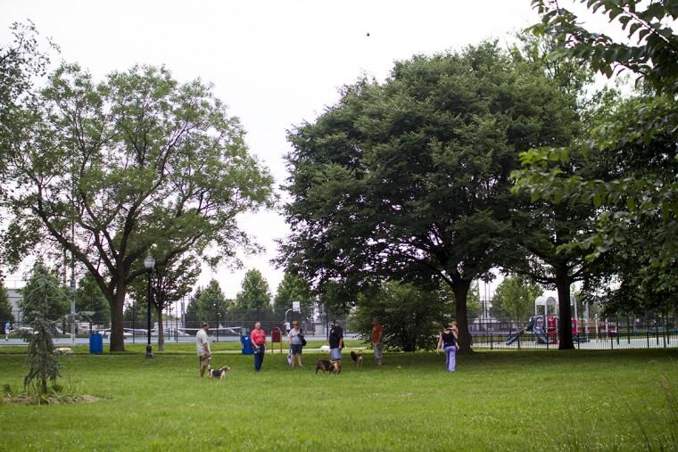 The dog park at Latrobe Park and Banner Field in Locust Point. (Kalani Gordon, Baltimore Sun, June 2015)