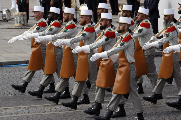 French Foreign Legion soldiers parade during the annual Bastille Day military parade on July 14, 2015 in Paris, France.The Bastille Day, the French National Day, is held annually on 14 July to commemorate the storming of the Bastille fortress in 1789. (Photo by Thierry Chesnot/Getty Images)