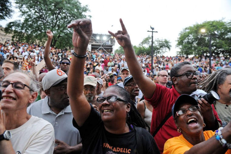 Fans cheer as George Clinton and Parliament Funkadelic performs at Artscape. (Special to The Sun / Colby Ware)