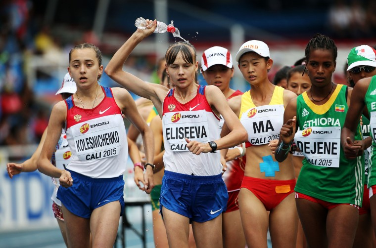 Zhenxia Ma of China, Olga Eliseeva of Russia and Ayalnesh Dejene of Ethiopia in action during the Girls 5000 Meters Race Walk Final on day four of the IAAF World Youth Championships, Cali 2015 on July 18, 2015 at the Pascual Guerrero Olympic Stadium in Cali, Colombia. (Patrick Smith/Getty Images for IAAF)